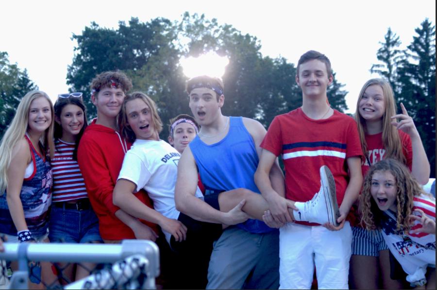 Sophomores Madison Bricker, Lauren Matz, Tyler Pokorny, Brennan Helcher, Bryce Murphy, Sam Tedeschi, Jamie Hake and Laura Ewell all dressed up for the USA themed football game.