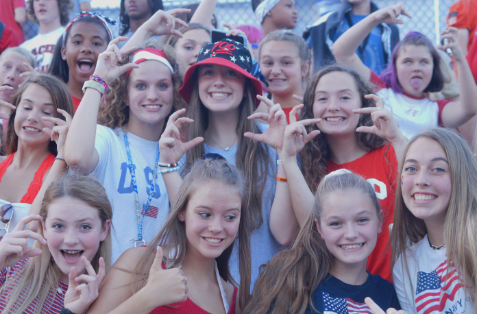 Freshman Section wearing USA themed clothes.