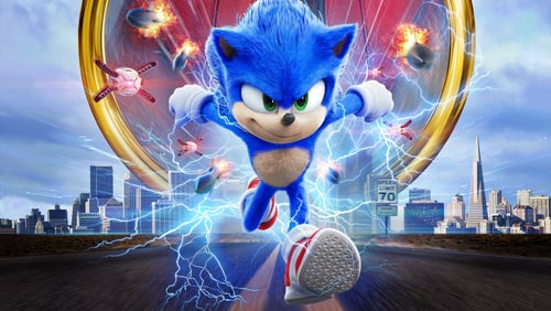 Sonic the hedgehog racing past his enemy, creating a swarm of blue lightning.