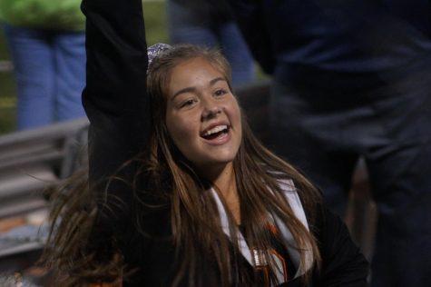 Junior cheerleader Laney Hackbarth cheering on the Pacers