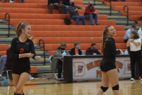 Volleyball players laughing
