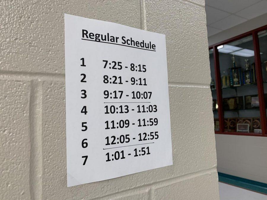 New school schedule of seven period day