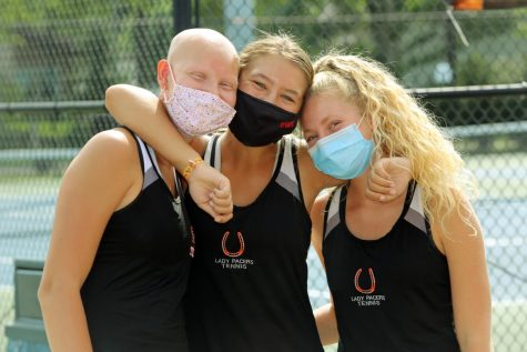 Tennis players with masks