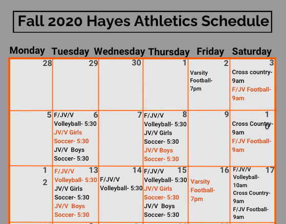 Fall 2020 Athletic Schedule