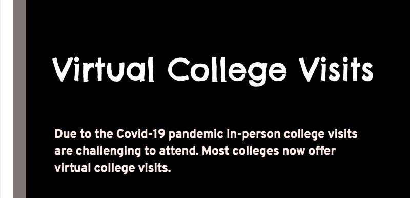 screenshot of virtual college visit graphic