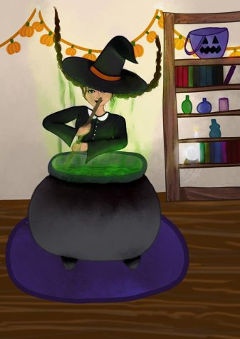 Art: witch stirring cauldron