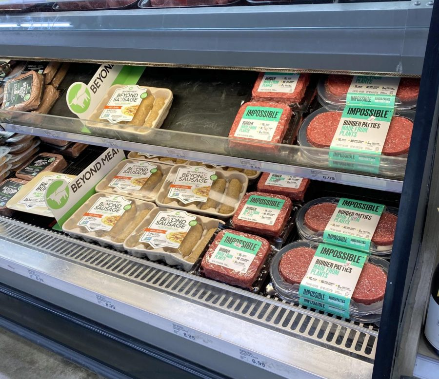 plant-based meat display at the grocery store