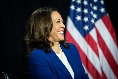 Kamala Harris stands in front of an American flag