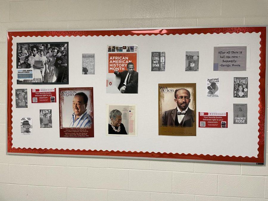Black History Month bulletin board at Hayes