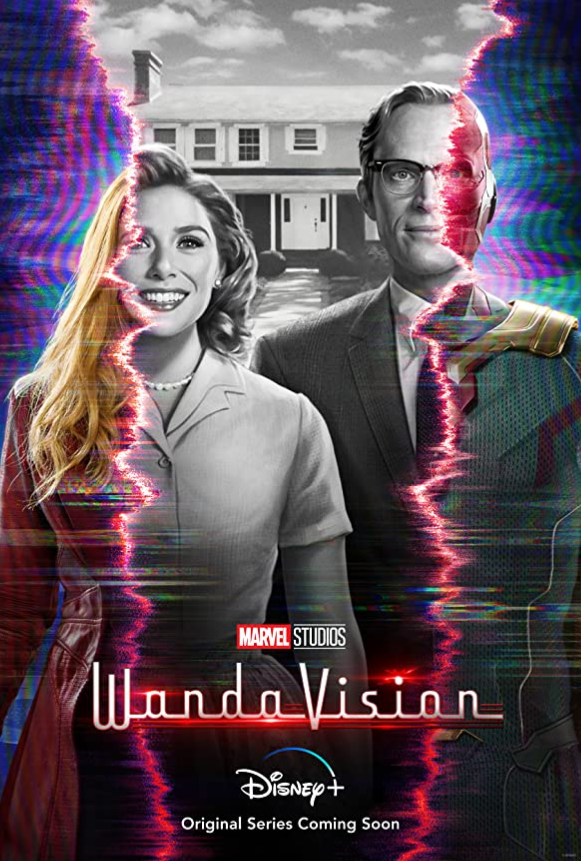 "Elizabeth Olsen and Paul Bettany star in ""WandaVision."" All nine episodes are now available on Disney+."