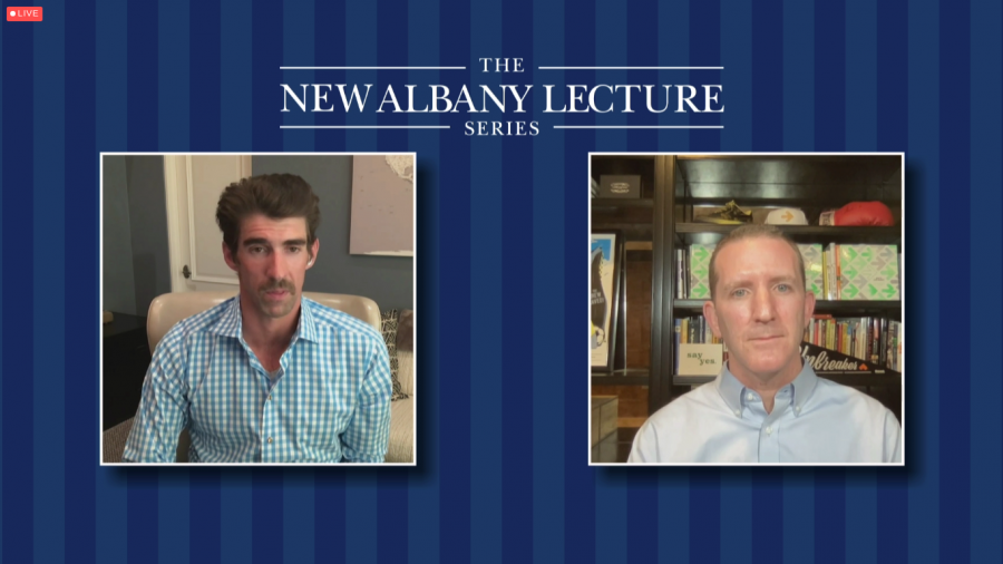Doug Ulman (right) interviews Michael Phelps (left).  The interview took place as part of the New Albany Foundation's lecture series, an annual education program that features internationally prominent speakers.