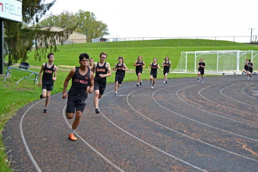 Boys start off 800 meter run.
