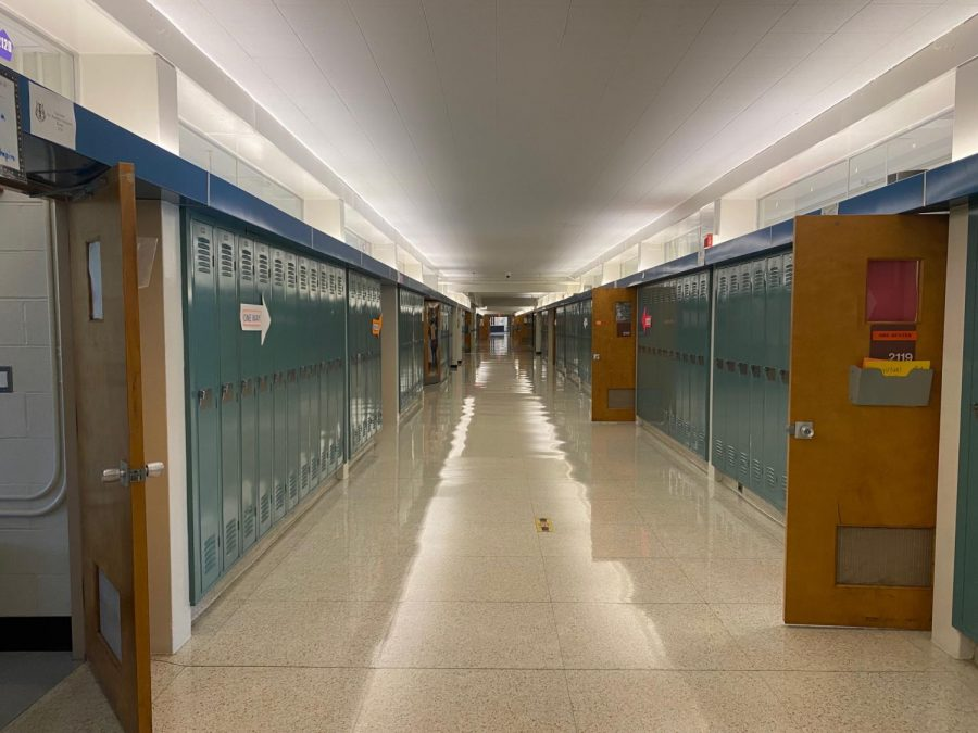 A hallway at Hayes sits empty after seniors leave the building on May 13.