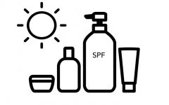 Graphic of skincare bottles and tubes. Icons sources from The Noun Project, by Vectplus (sun) and Adèle Foucart.