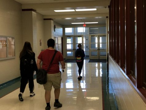 Students leave the building during their open lunch period.