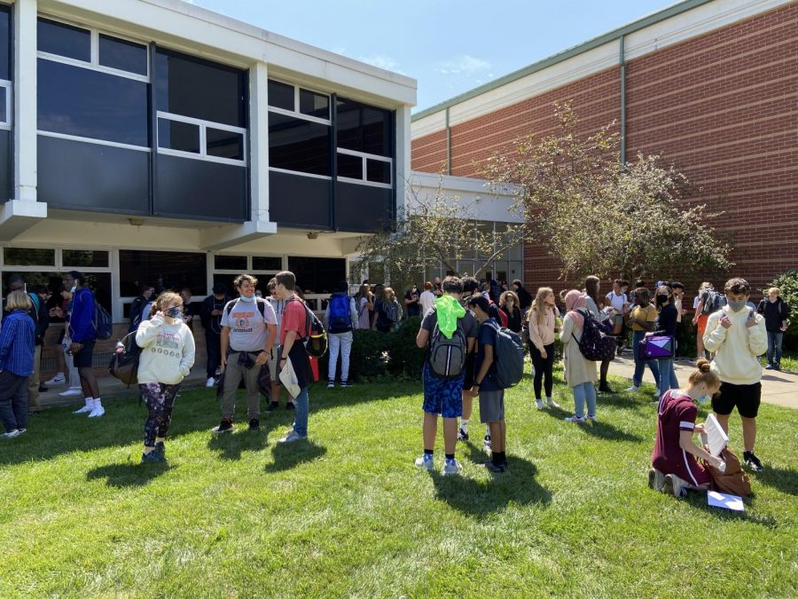 Sugar Grove students gather outside for an ice cream social. Each house held individual ice cream socials throughout the first weeks of school to promote social interaction.