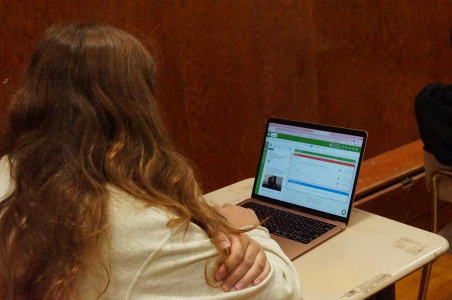 Senior Kendyl Donges works on SchooLinks, a college admission platform used by students at Hayes.