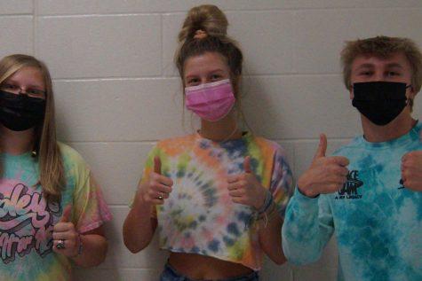 Students wear tye-dye.