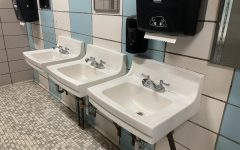 The replaced sink sits in a girls bathroom. The sink was one of the items stolen in September due to the devious lick TikTok trend.