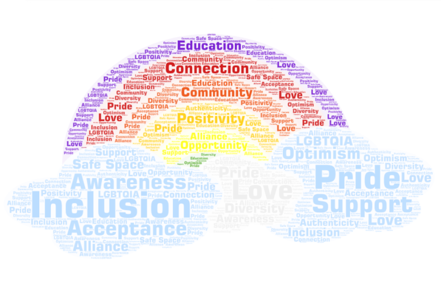 Words to describe GSA, as brainstormed by members of the GSA club at Hayes.